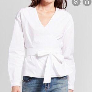A new day white wrap blouse size XXL